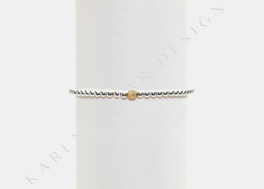 3MM Sterling Silver Bracelet with 14K Yellow Gold Diamond Bead