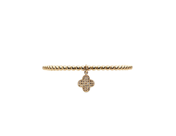 3MM Yellow Gold Filled Bracelet with 14K Diamond Clover Charm