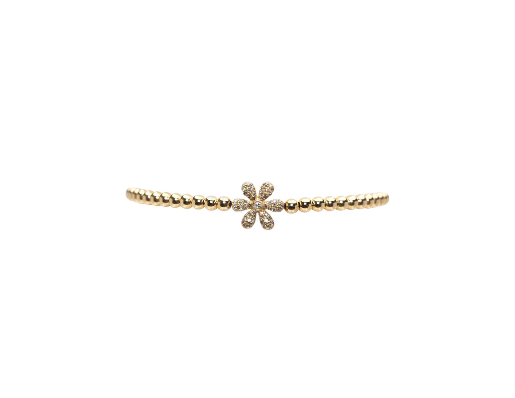 3MM Yellow Gold Filled Bracelet with 14K Diamond Flower Bead