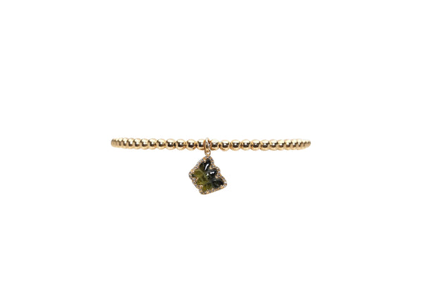 3MM Yellow Gold Filled Bracelet with Green Tourmaline Diamond Butterfly