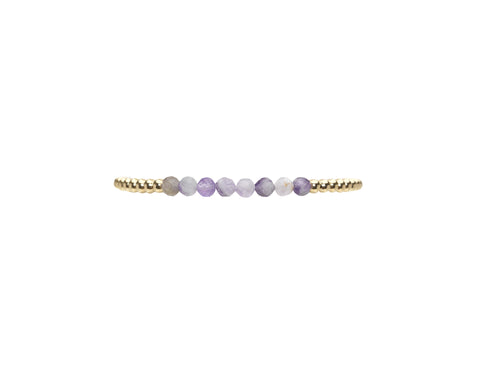 3MM Yellow Gold Filled Bracelet with Mixed Amethyst