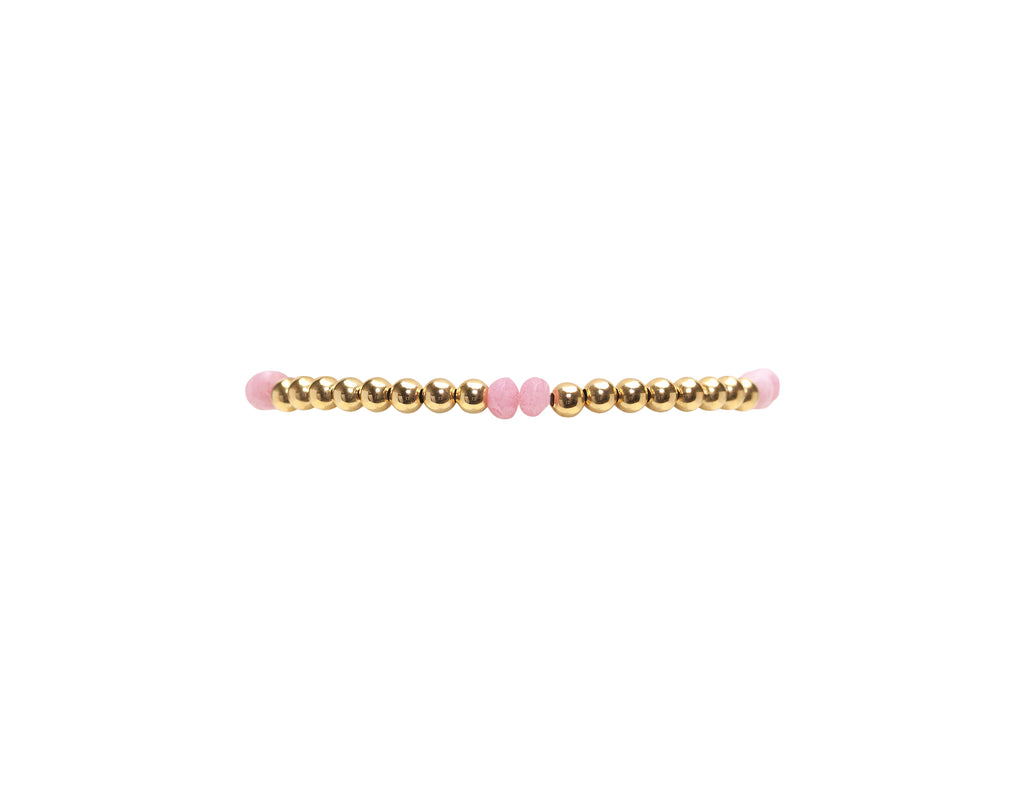 3MM Yellow Gold Filled Bracelet with Pink Agate Pattern