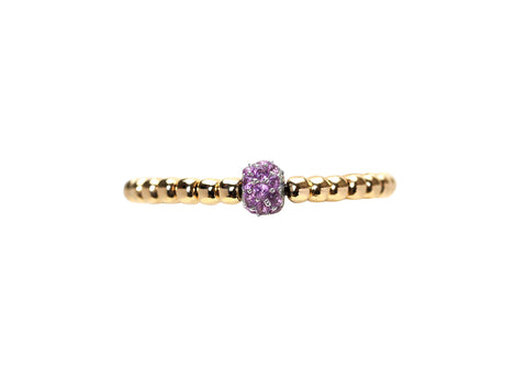 2MM Yellow Gold Filled Ring with 14K Pink Sapphire