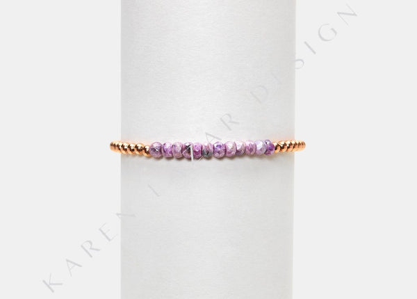 4MM Yellow Gold Filled Bracelet W/ Pink Silverite
