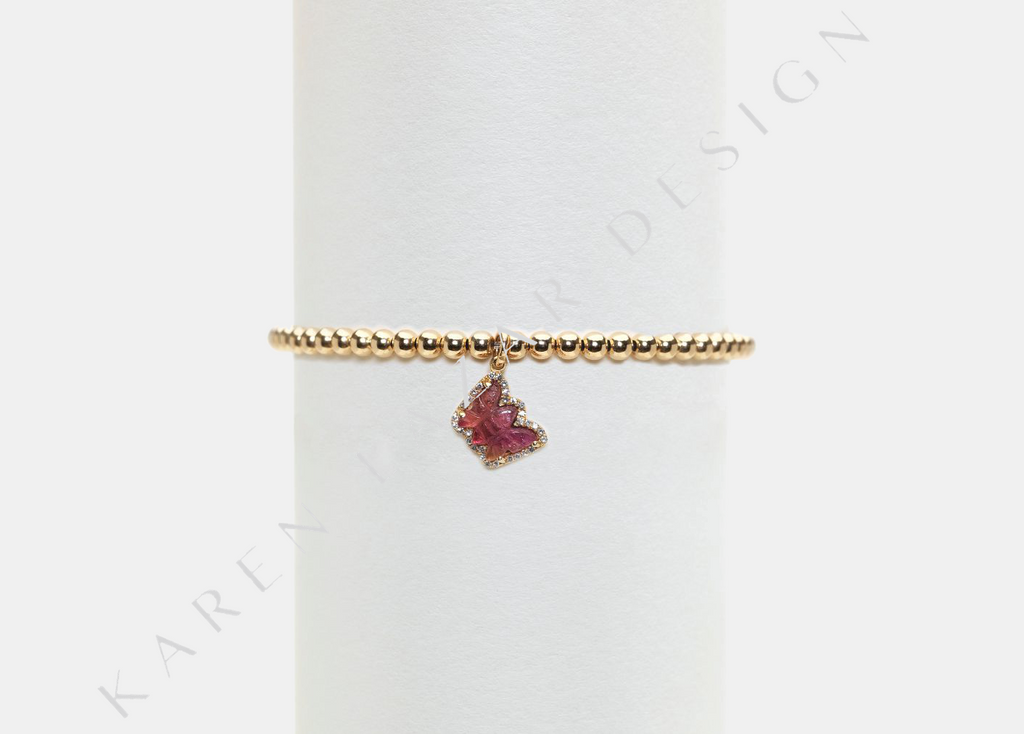 3MM Yellow Gold Filled Bracelet with Pink Tourmaline Diamond Butterfly