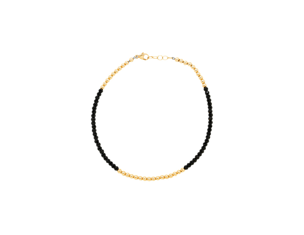 3MM Yellow Gold Filled Anklet with Spinel