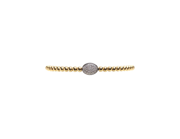 3MM Yellow Gold Filled Bracelet with 14K White Gold Diamond Bean