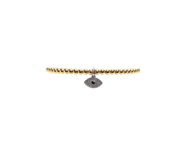 3MM Yellow Gold Filled Bracelet With 14K White Gold and Diamond Evil Eye Charm