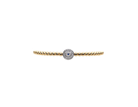 3MM Yellow Gold Filled Bracelet with 14K White Gold Diamond Evil Eye Bead
