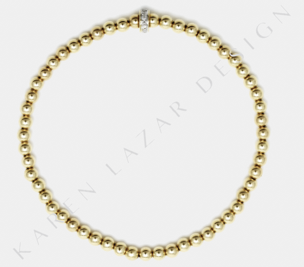 3MM Yellow Gold Filled Bracelet with 14k Gold Diamond Rondelle