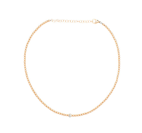 3MM Rose Gold Filled Necklace with 14K Diamond Rondelle