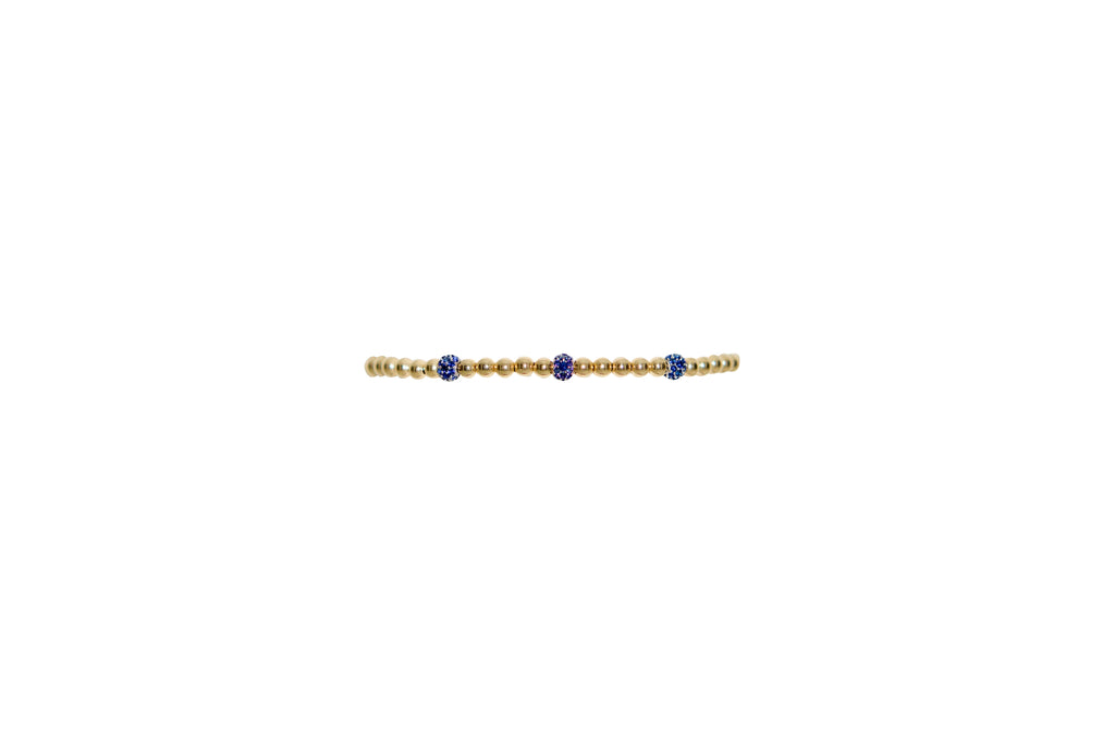 3MM Yellow Gold Filled Bracelet with 3 14K Blue Sapphire