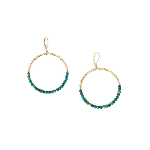 3mm Yellow Gold Filled Beaded Hoop Earrings with Arizona Turquoise