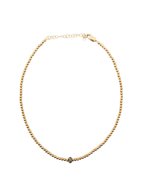 3mm Yellow Gold Necklace with Oxidized Diamond Rondelle