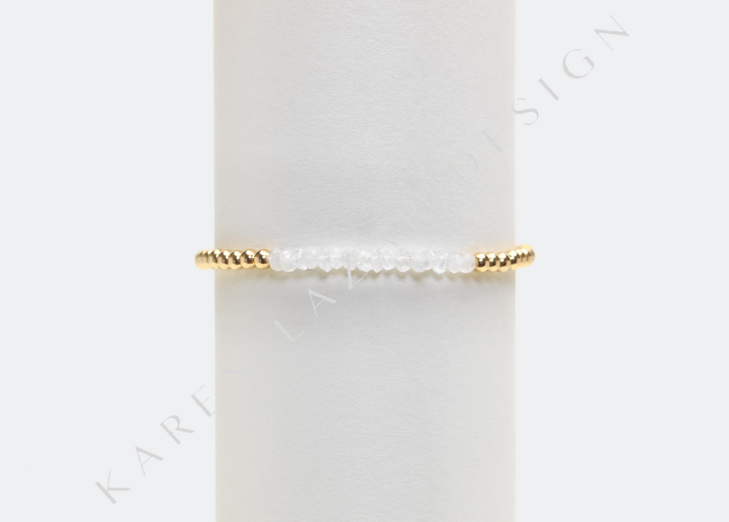 3MM Yellow Gold Filled Bracelet with Moonstone