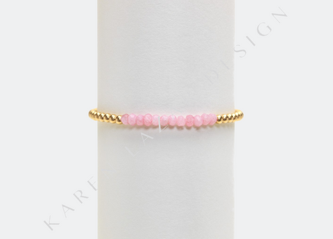 Kids 3MM Yellow Gold Filled Bracelet with Pink Agate
