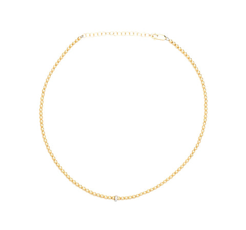 3MM Yellow Gold Filled Necklace with 14K Diamond Rondelle