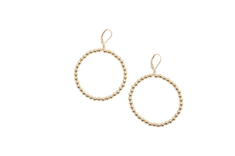 4mm Yellow Gold Filled Beaded Hoop Earrings