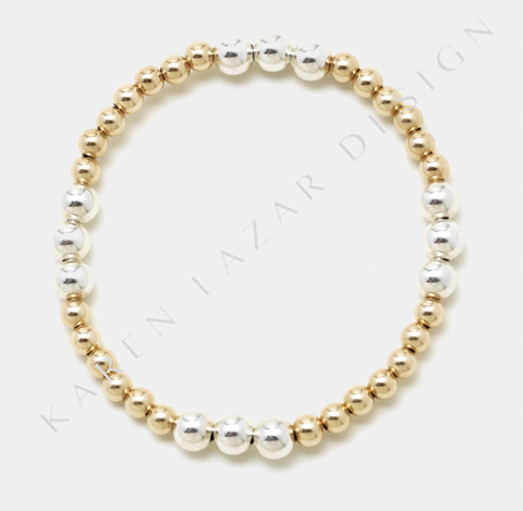 4MM Yellow Gold Filled Bracelet with 5MM Sterling Silver