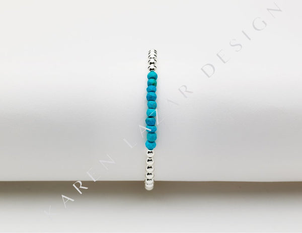 4MM Sterling Silver Filled Bracelet with Turquoise