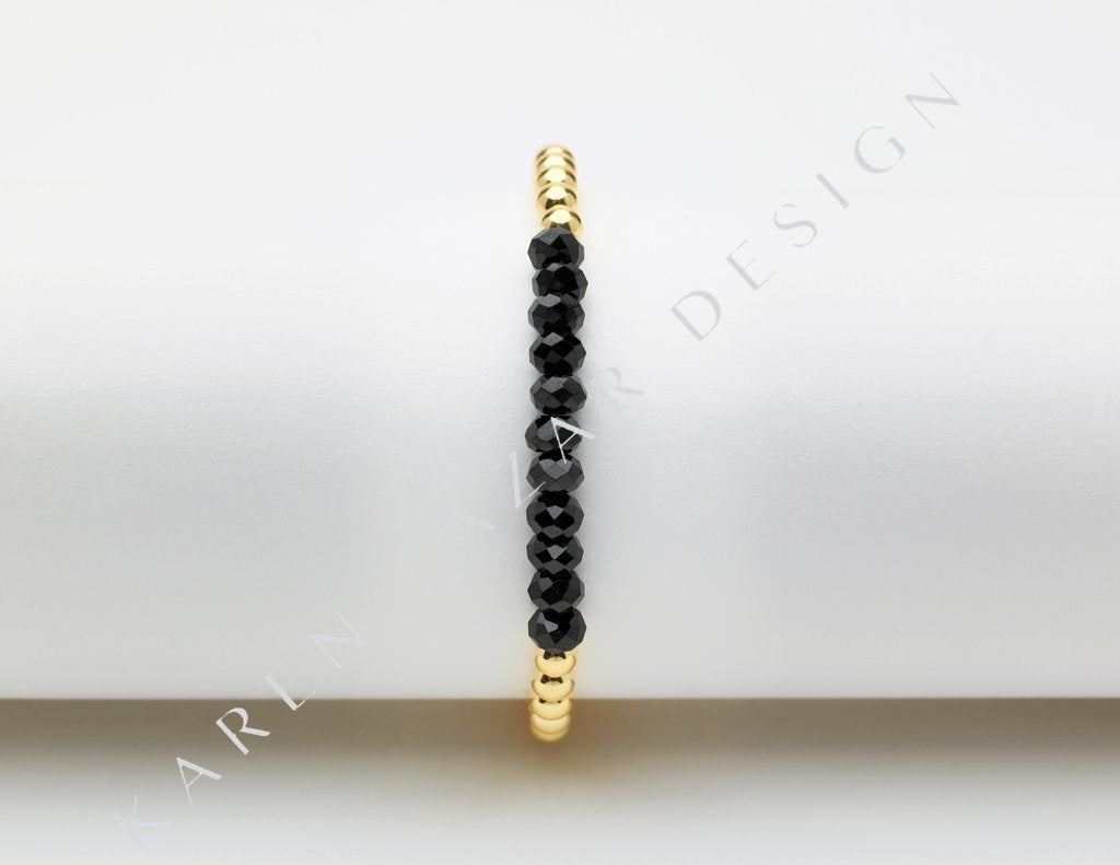 4MM Yellow Gold Bracelet with Black Spinel