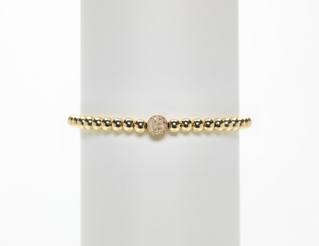 4MM Yellow Gold Filled Bracelet with Yellow Gold Diamond Ball