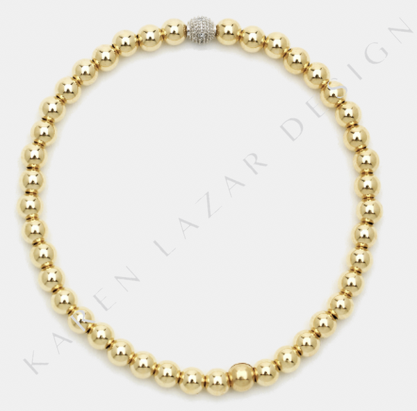 4MM Yellow Gold Filled Bracelet with 14k Gold Diamond Bead