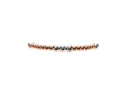 4MM Rose Gold Filled Bracelet with 5MM Sterling Silver