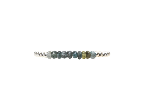 4MM Sterling Silver Bracelet with Moss Aqua