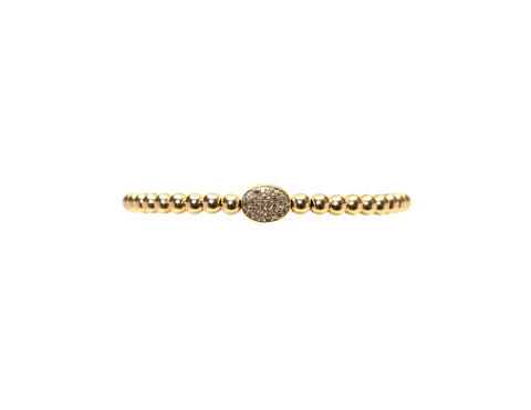 4MM Yellow Gold Filled Bracelet with 14K Diamond Bean