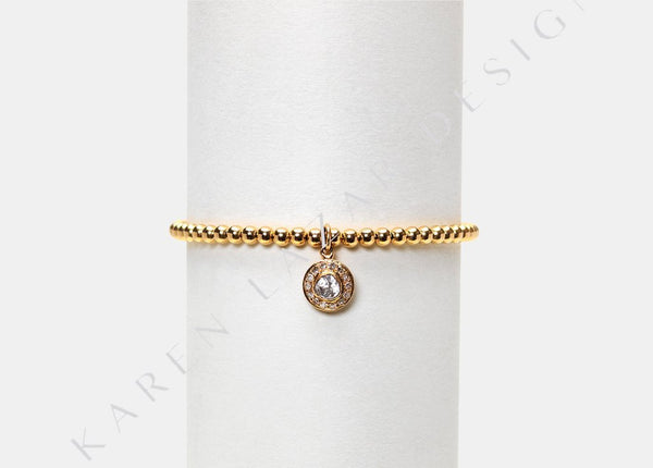 3MM Yellow Gold Filled Bracelet with 14k Gold Diamond Drop