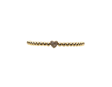 4MM Yellow Gold Filled Bracelet with 14K Diamond Heart Bead