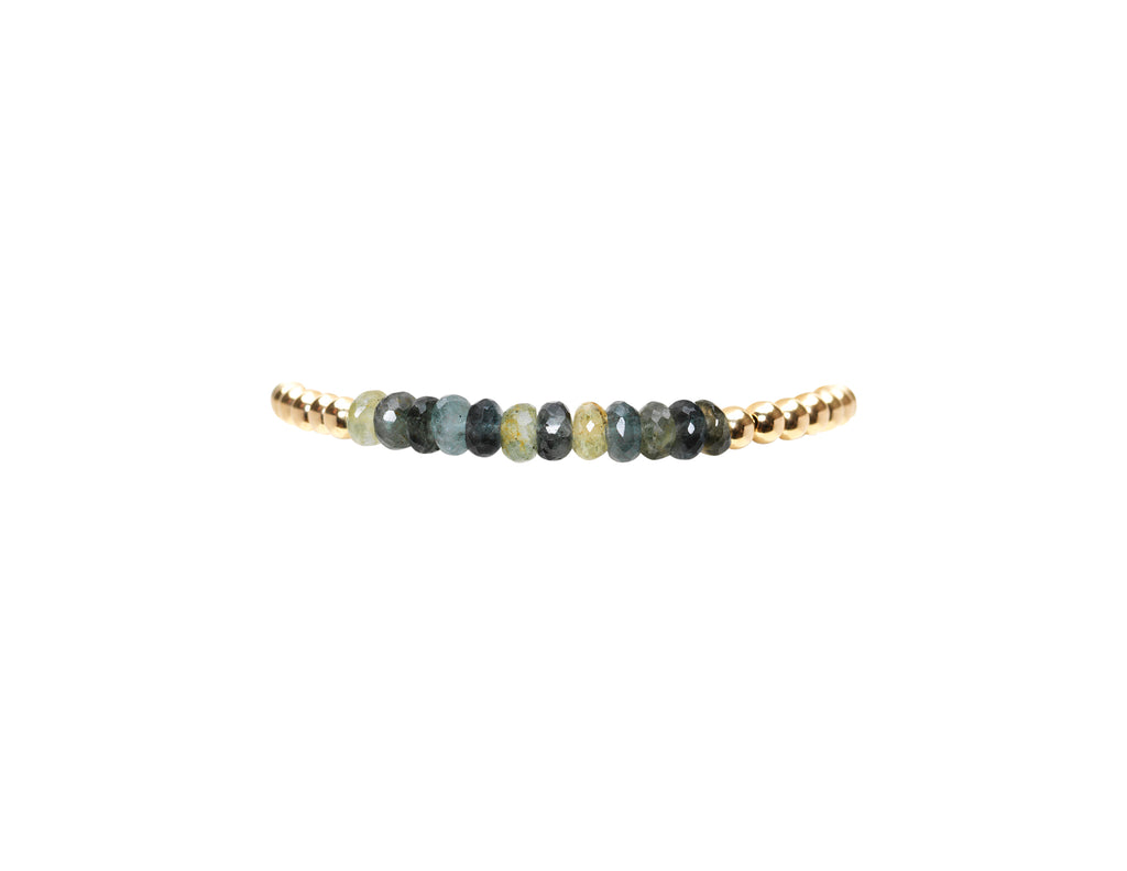 4MM Yellow Gold Filled Bracelet with Moss Aqua