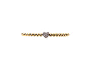 4MM Yellow Gold Filled Bracelet with Sterling Silver Oxidized Diamond Heart Bead