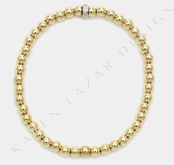4MM Yellow Gold Filled Bracelet with Diamond Rondelle
