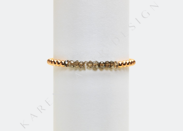 4MM Rose Gold Filled Bracelet with Smokey Topaz
