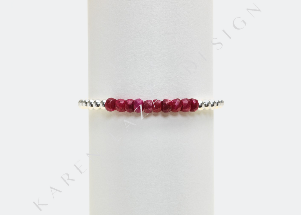 4MM Sterling Silver Filled Bracelet with Ruby