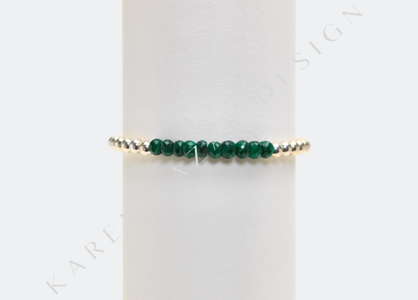 4MM Sterling Silver Bracelet with Emerald