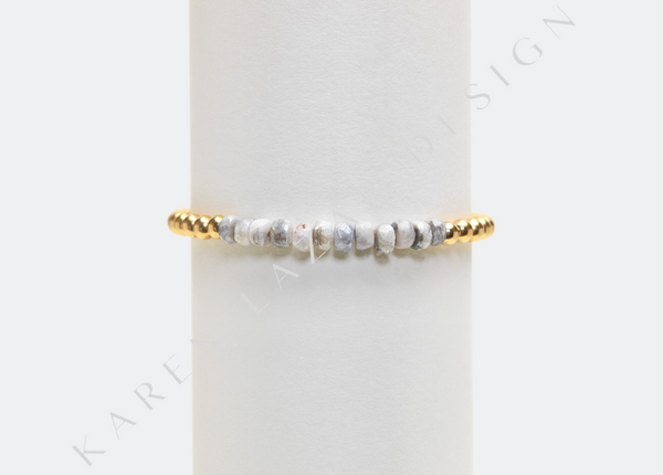 4MM Yellow Gold Filled Bracelet with Light Gray Silverite