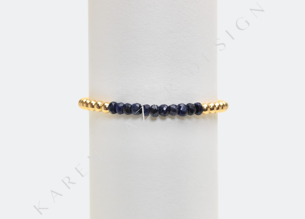4MM Yellow Gold Filled Bracelet with Sapphire