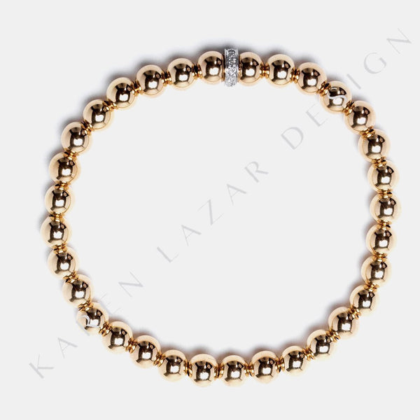 5MM Yellow Gold Filled Bracelet with 14K Gold Diamond Rondelle