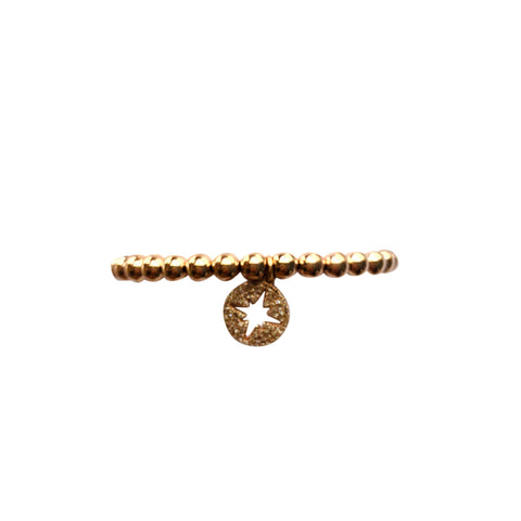 5mm Rose Gold Filled Bracelet with 14k Pave Diamond Cut Out Star Charm