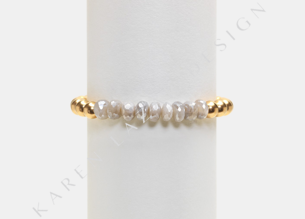 6MM Yellow Gold Filled Bracelet with Light Moonstone