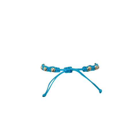 Aqua Macrame Bracelet with Yellow Gold Filled Beads