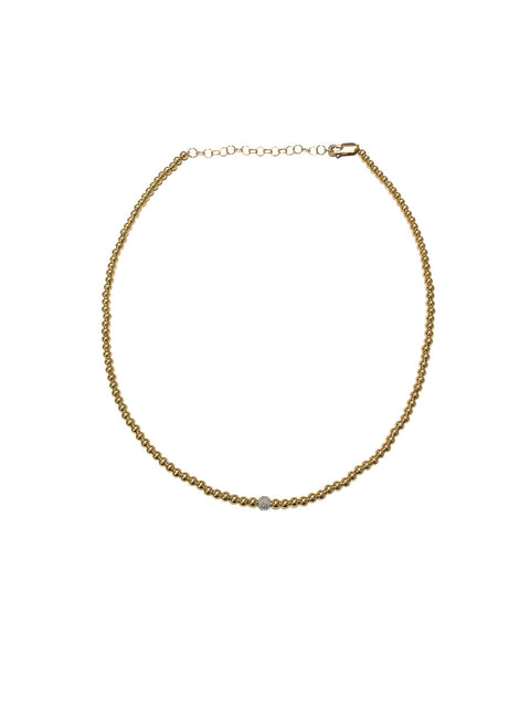 3MM Yellow Gold Filled Necklace with 14K Diamond Bead