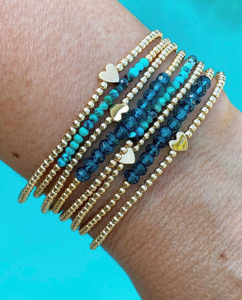 2MM Yellow Gold Filled Bracelet with London Blue Topaz