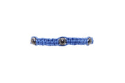 Men's Cobalt Macrame Bracelet with Oxidized Sterling Silver Filled Beads