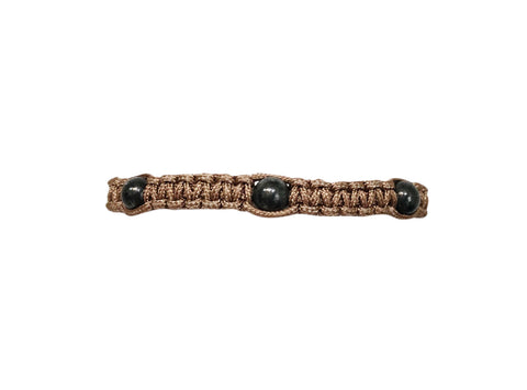 Men's Taupe Macrame Bracelet with Oxidized Sterling Silver Filled Beads