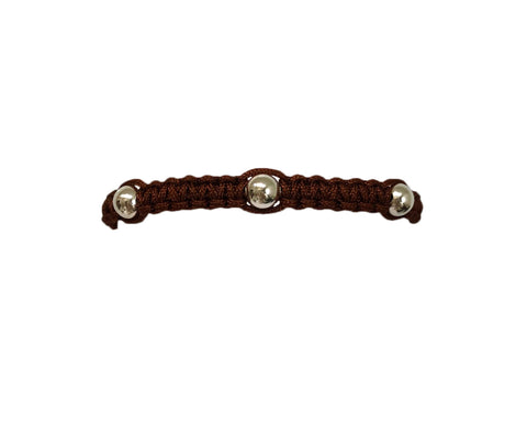 Men's Chocolate Macrame Bracelet with Sterling Silver Filled Beads