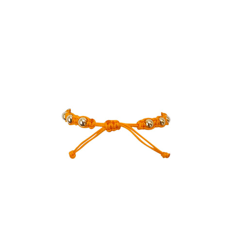 Orange Macrame Bracelet with Yellow Gold Filled Beads
